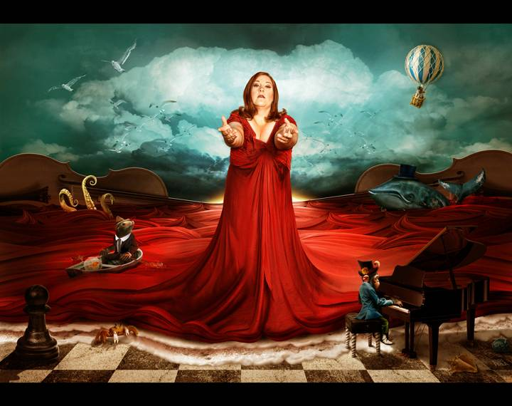 Artistic blend of professional photography and painting promoting the Canadian Opera Company.