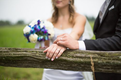 Artistic photograph of the hands of a bride and groom showing their wedding rings.
