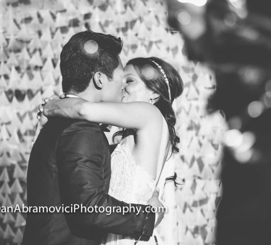 Black and white artistic wedding portrait.
