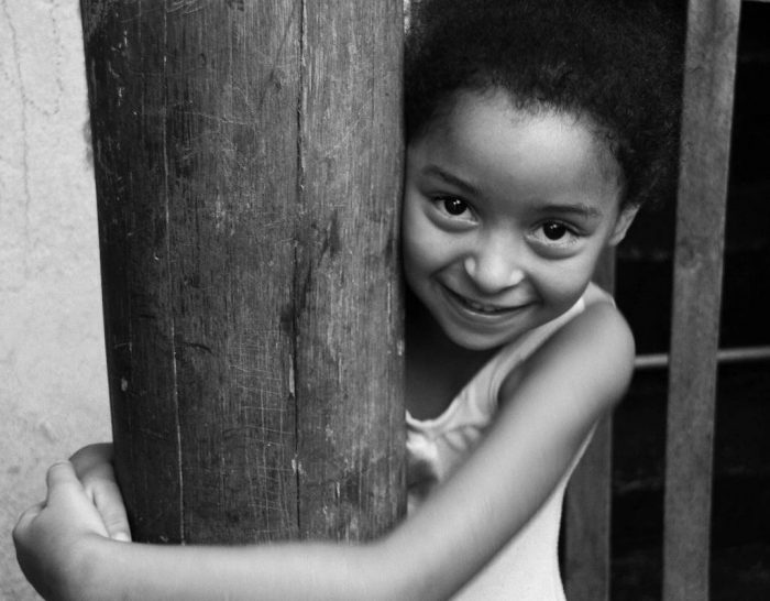 Artistic black and white portrait of a young girl.