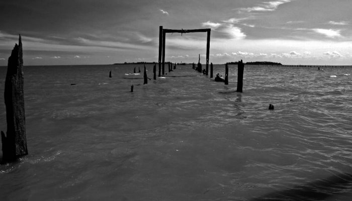 Artistic black and white landscape of a submerged dock.