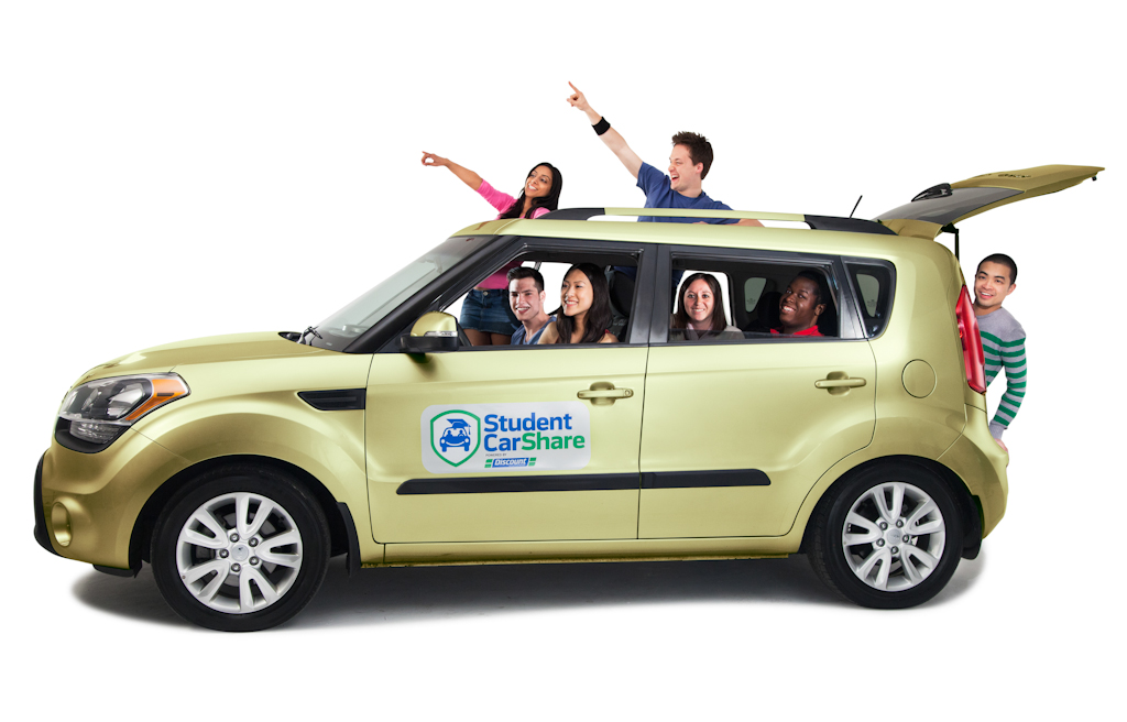 Group portrait as part of launch event for Student Car Share.