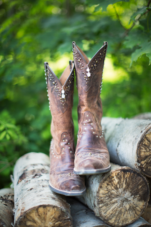 Artistic photography of boots used as part of a wedding.