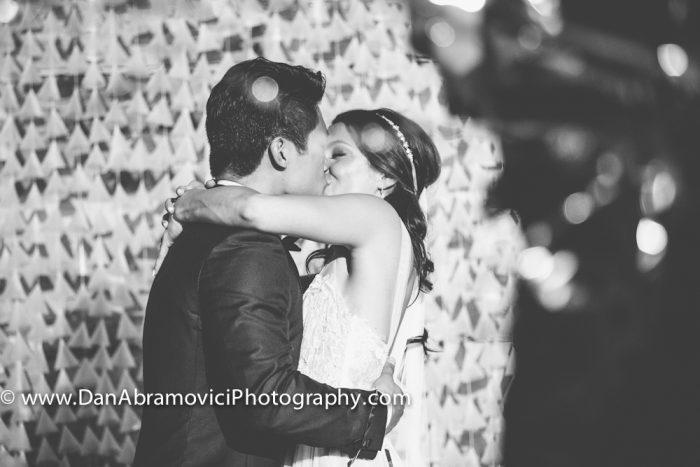 Black and white artistic wedding portrait.