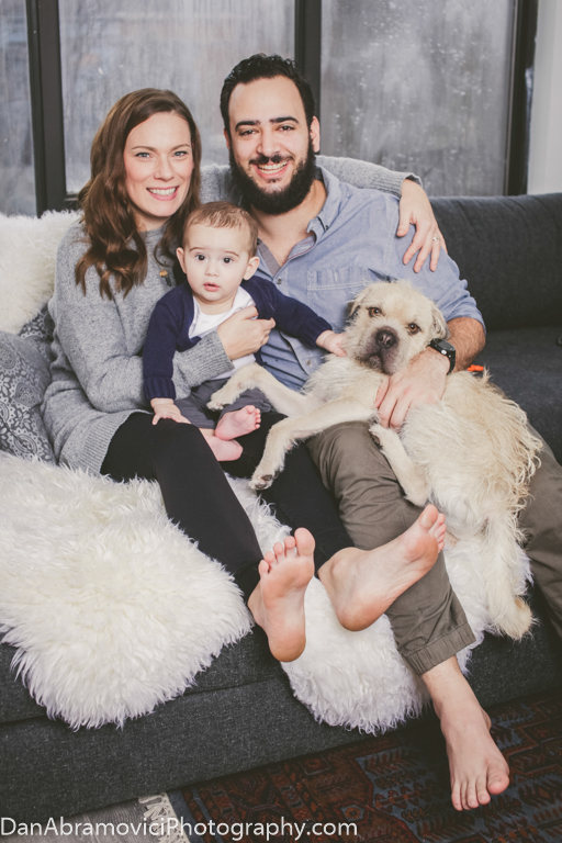 Professional portrait of a new family.